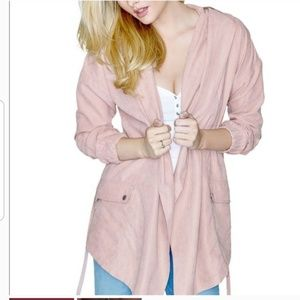 Pink Guess Kylie wrap hooded trench coat